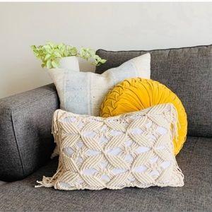 "Macrame Fringe Lumbar Pillow Sham Cover 12 x 18"""